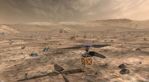 The Mars Helicopter, a small, autonomous rotorcraft, will travel with NASA's Mars 2020 rover, currently scheduled to launch in July 2020, to demonstrate the viability and potential of heavier-than-air vehicles on the Red Planet. (NASA/JPL-Caltech)