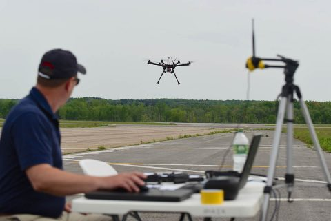 A test site pilot launches his drone on another planned maneuver during a field demonstration coordinated by NASA's Unmanned Aircraft Systems Traffic Management project. (NUAIR Alliance / Eric Miller)