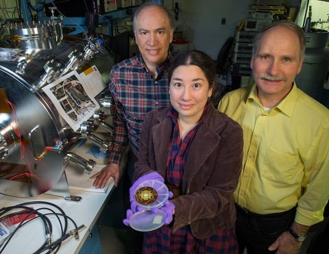 John Hagopian (left) collaborated with instrument scientist Lucy Lim to develop a new instrument that relies on carbon nanotubes to provide the electrons needed to excite minerals contained in an extraterrestrial sample. Larry Hess (right) patterns all the leads and patches where the catalyst for growing nanotubes is deposited. (NASA's Goddard Space Flight Center/Bill Hrybyk)
