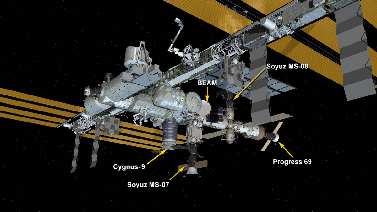 International Space Station Configuration. Four spaceships are attached to the space station including the Orbital ATK Cygnus resupply ship, the Progress 69 resupply ship and the Soyuz MS-07 and MS-08 crew ships. (NASA)