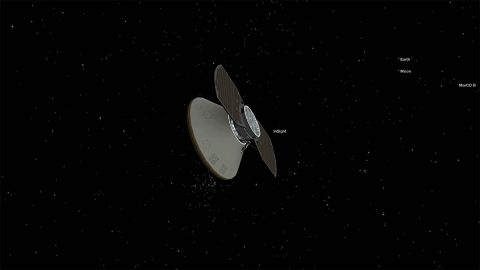 NASA's InSight spacecraft is currently cruising to Mars. Yesterday, it performed its first course correction guiding it to the Red Planet. (NASA/JPL-Caltech)