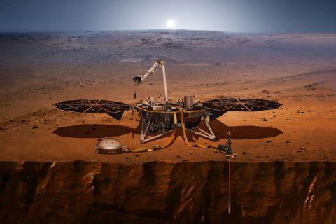 This artist's concept shows NASA's Mars InSight lander, its sensors, cameras and instruments. (NASA/JPL-Caltech)