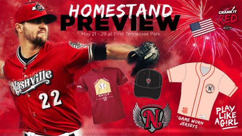 T-Shirt & Cap Giveaway, A League of Their Own Night, Two Fireworks Shows Highlight Nashville Sounds Homestand. (Nashville Sounds)