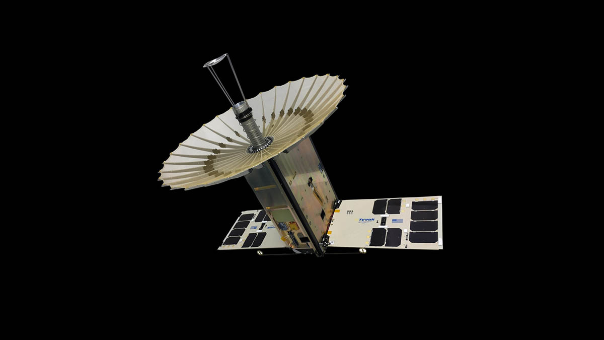 The RainCube 6U CubeSat with fully-deployed antenna. (NASA/JPL-Caltech)