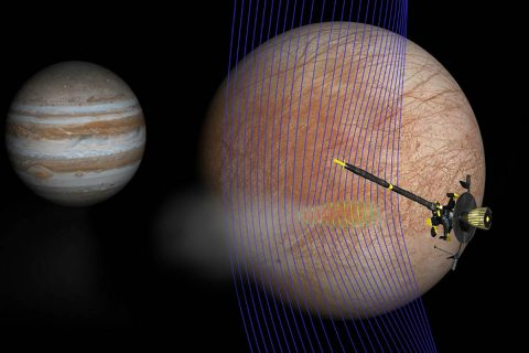 Artist's illustration of Jupiter and Europa (in the foreground) with the Galileo spacecraft after its pass through a plume erupting from Europa's surface. (NASA/JPL-Caltech/Univ. of Michigan)