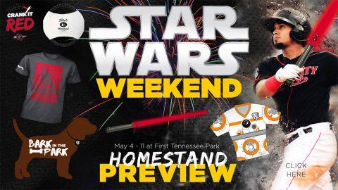 Star Wars Weekend, Bark in the Park, Two Fireworks Shows Highlight Nashville Sounds Homestand. (Nashville Sounds)