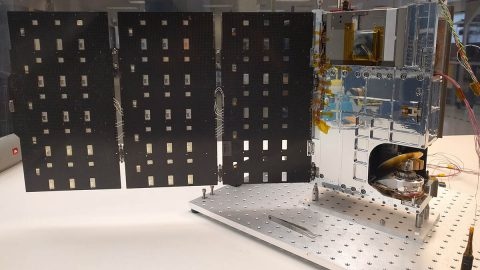 The complete TEMPEST-D spacecraft shown with the solar panels deployed. (Blue Canyon Technologies)