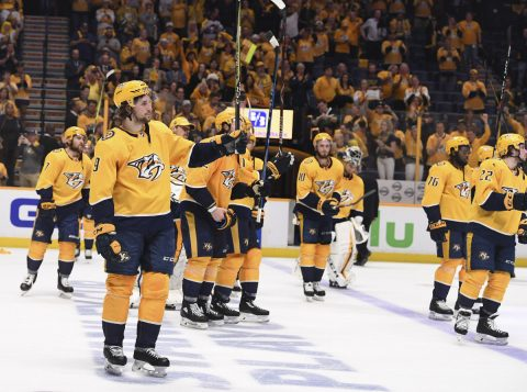 May 10, 2018; Nashville, TN, USA; Nashville Predators players waive their sticks to the crowd after a loss to the Winnipeg Jets in game seven of the second round of the 2018 Stanley Cup Playoffs at Bridgestone Arena. Mandatory Credit: Christopher Hanewinckel-USA TODAY Sports