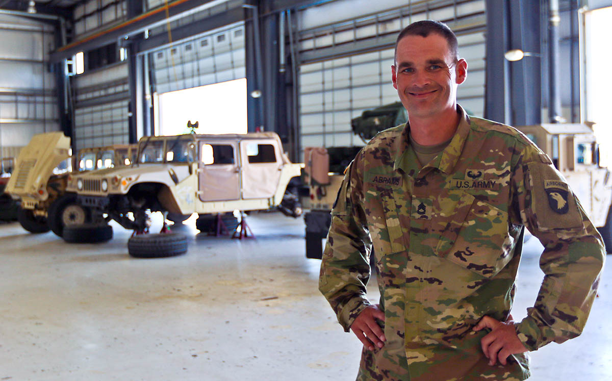 Sgt. 1st Class Timothy Chad Abrams is a wheeled vehicle mechanic assigned to Headquarters Support Company, Headquarters and Headquarters Battalion, 101st Airborne Division (Air Assault) and Abingdon, VA native. (Sgt. Steven Lopez, 40th Public Affairs Detachment)