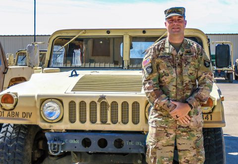 Sgt. Tyler Presley's an air defense battle management systems operator assigned to Headquarters and Headquarters Battalion, G-3 Air Missile Defense Section, 101st Airborne Division and Indianapolis, IN native. (Sgt. Steven Lopez, 40th Public Affairs Detachment)