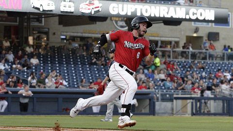 Beau Taylor's Ninth Inning Triple Lifts Nashville Sounds over Oklahoma City Dodgers. (Nashville Sounds)