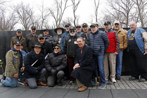 "The ""Currahee Brothers"" from 3rd Battalion, 506th Infantry Regiment, 101st Airborne Division, pose for a group photo during their visit the Vietnam Veterans Memorial, Feb. 19, 2018, in Washington, D.C. Veterans of the battalion visit the memorial annually in remembrance of 8 soldiers lost in an ambush on Feb. 19, 1968. This year marks the 50th anniversary of that battle. (U.S. Army photo by Staff Sgt. Paige Behringer)"