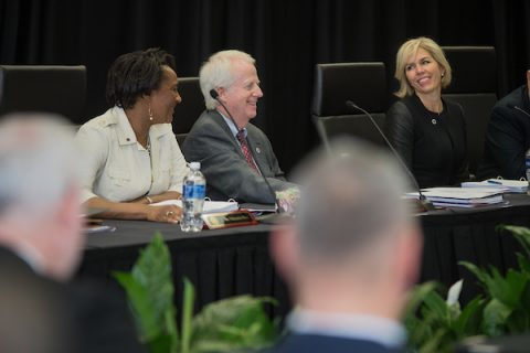 Austin Peay State University board members Valencia May, Mike O'Malley and Katherine Cannata smile during a previous Board of Trustees meeting. (APSU)