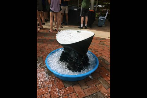 After Bryan Gaither and Jeremiah Simmons boiled water in this steel drum, they sealed it and put it in an ice bath. Within 90 seconds it imploded. (Austin Peay State University)