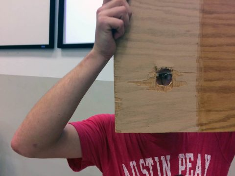 APSU Department of Physics ping pongc annon was able to shoot a ball through a piece of ¼-inch-thick plywood.