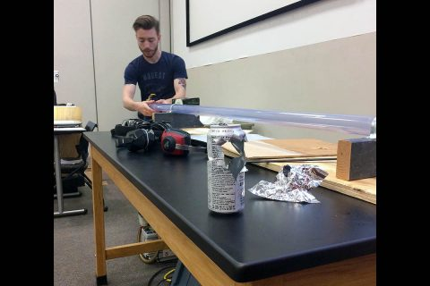 APSU Department of Physics, Engineering and Astronomy constructed a ping pong cannon earlier this year.
