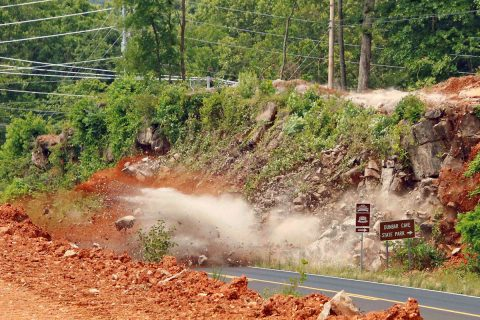 Demolition work was done today at intersection of Warfield Boulevard and Dunbar Cave Road.