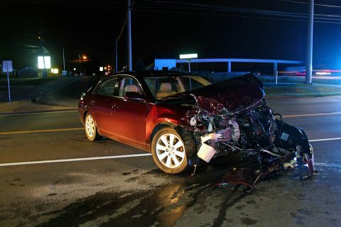 A 2007 Toyota Avalon did not stop at the light on Peachers Mill Road and slammed into a 1999 Dodge Van.