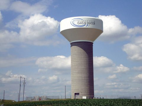 A new Clarksville Gas and Water Department water tank off Solar Way serves industrial customers.