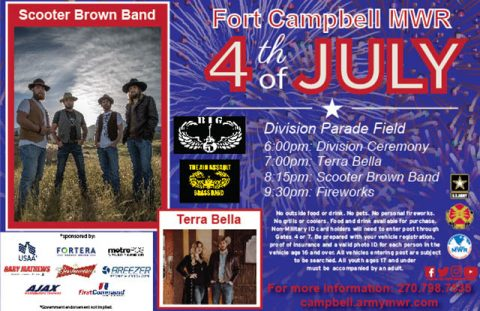 Fort Campbell MWR 2018 Independence Day Carnival, Concert and Fireworks.