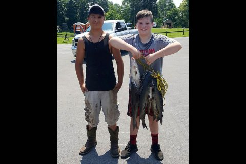 These boys display a string of fish they caught during the Cheatham Lake Annual Fishing Rodeo in Ashland City, Tennessee, June 16th, 2018. (Trey Church, USACE)