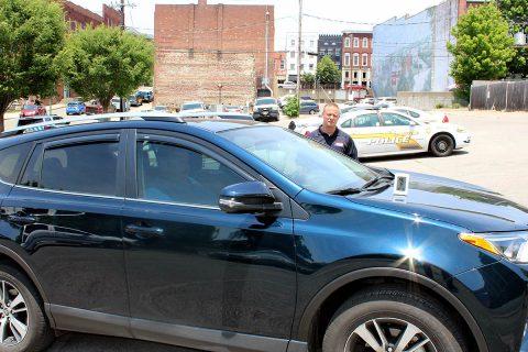 Sergeant James Derico volunteered to demonstrate Hot Car Dangers.