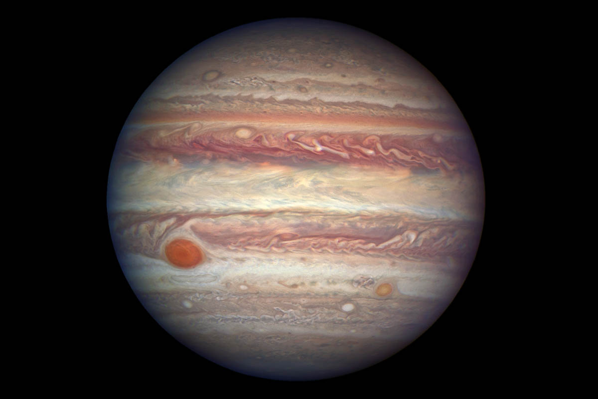 This photo of Jupiter, taken by NASA's Hubble Space Telescope, was snapped when the planet was comparatively close to Earth, at a distance of 415 million miles. (NASA, ESA, and A. Simon (NASA Goddard))