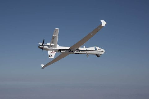 NASA's remotely-piloted Ikhana aircraft, based at the agency's Armstrong Flight Research Center, is flown in preparation for its first mission in public airspace without a safety chase aircraft. (NASA/Carla Thomas)