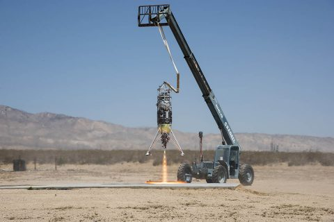 Masten Space Systems' Xodiac rocket flight tests Honeybee Robotics pneumatic sampler collection system, PlanetVac, in Mojave Desert. (NASA Photo / Lauren Hughes)
