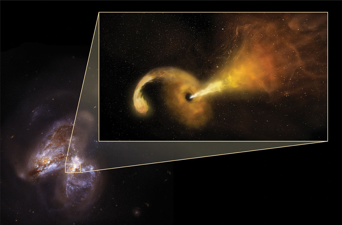 An image of the galaxy Arp299B, which is undergoing a merging process with Arp299A (the galaxy to the left), captured by NASA's Hubble space telescope. The inset features an artist's illustration of a tidal disruption event (TDE), which occurs when a star passes fatally close to a supermassive black hole. A TDE was recently observed near the center of Arp299B. (Sophia Dagnello, NRAO/AUI/NSF; NASA, STScI)