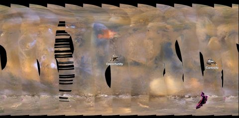 This set of images from NASA's Mars Reconnaissance Orbiter shows a fierce dust storm is kicking up on Mars, with rovers on the surface indicated as icons. (NASA/JPL-Caltech/MSSS)