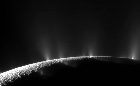 A dramatic plume sprays water ice and vapor from the south polar region of Saturn's moon Enceladus. Cassini's first hint of this plume came during the spacecraft's first close flyby of the icy moon on February 17, 2005. (NASA/JPL/Space Science Institute)