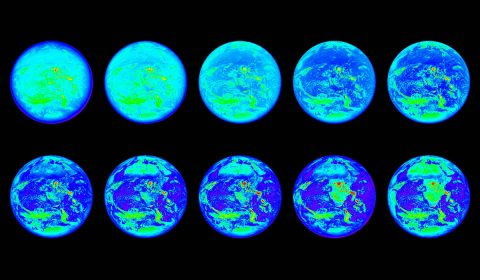 These images show the sunlit side of Earth in 10 different wavelengths of light that fall within the infrared, visible and ultraviolet ranges; the images are representational-color, because not all of these wavelengths are visible to the human eye. Each wavelength highlights different features of the planet -- for example, the continent of Africa is visible in the lower right image, but is nearly invisible in the upper left image. (NASA/NOAA)