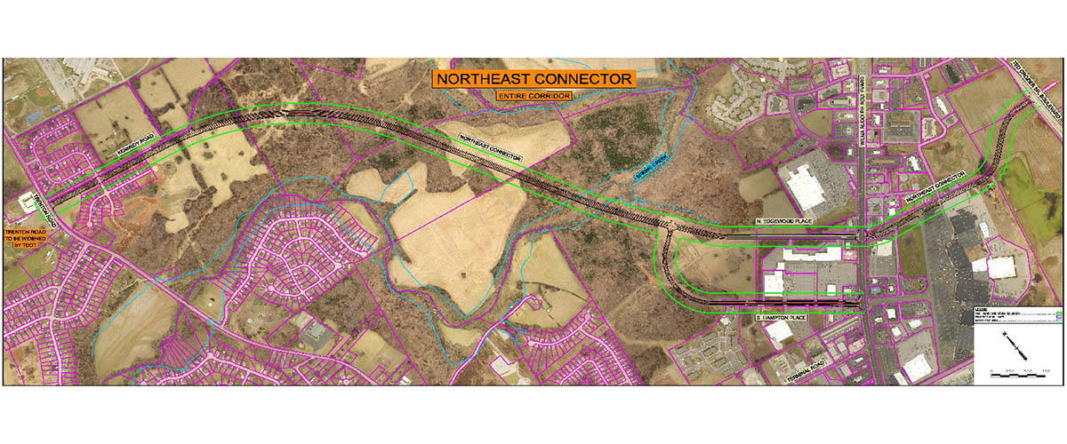 This map shows the proposed route of the Northeast Connector, which received $16.1 million in funding in the Clarksville 2019 budget approved 11-2 on Thursday.