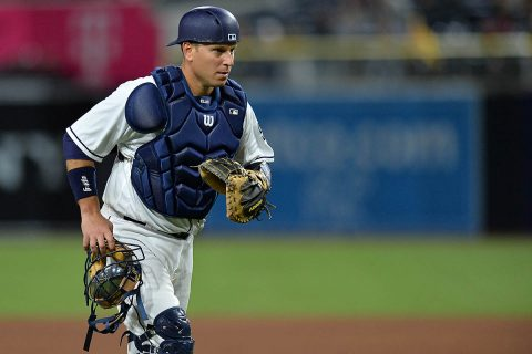 APSU Hall of Fame member A.J. Ellis now wears #17 and plays catcher for the San Diego Padres. (Jake Roth-USA TODAY Sports)