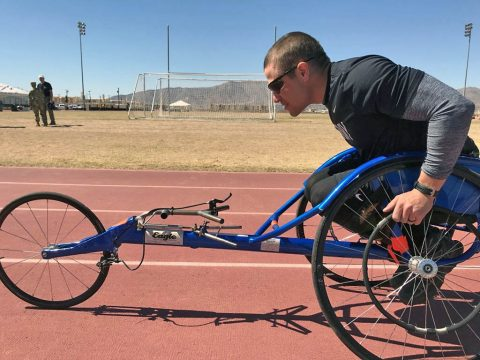 Sgt. Jonathan Weasner prepares for the 100 meter wheelchair race at Stout Track, Fort Bliss, Texas. 74 wounded, ill, and injured athletes at Fort Bliss, Texas will participate in the 2018 Army Trials March 3-8. These Soldiers and veterans will compete in 10 events with hopes of earning a spot on Team Army for the 2018 Department of Defense Warrior Games, June 2-9 in Colorado Springs, Colorado. (Annette P. Gomes)