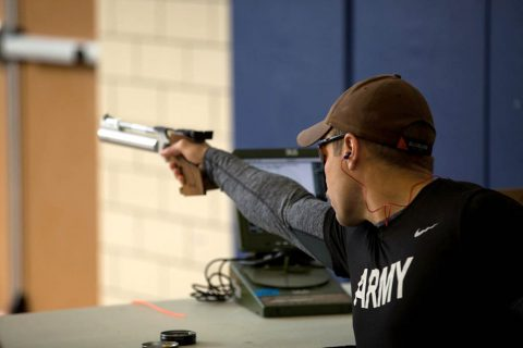 U.S. Army Sgt. Jonathon Weasner assigned to the Warrior Transition Battalion, Fort Campbell, Kentucky competes in the shooting event at Fort Bliss, Texas, March 7, 2018. 74 wounded, ill, or injured active duty Soldiers and veterans participate in a series of events that are held at Fort Bliss, Texas, Feb. 27 through March 9, 2018 as the Deputy Chief of Staff, Warrior Care and Transition host the 2018 U.S. Army Trials (Spc. Nathanael Mercado)