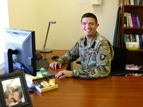 "Cpt. Daniel T. Isfan, the battalion chaplain for Headquarters and Headquarters Battalion, 101st Airborne Division (Air Assault), poses for a photo on Fort Campbell, Ky, June 11. ""You never know who's going to walk through the door, so you always have to be ready to either give a word of encouragement, a shoulder to cry on, a word of wisdom, or just a presence, someone to be there,"" said Isfan. (Sgt. Sharifa Newton, 40th Public Affairs Detachment)"