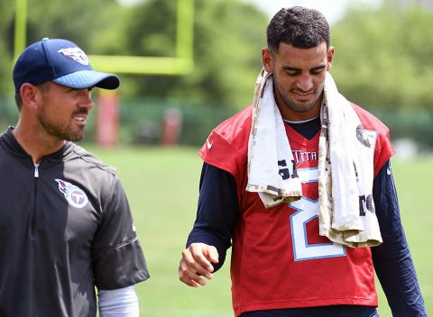 Tennessee Titans quarterback Marcus Mariota (8) talks with Titans offensive coordinator Matt LaFleur after practice at Saint Thomas Sports Park. Mandatory (Christopher Hanewinckel-USA TODAY Sports)