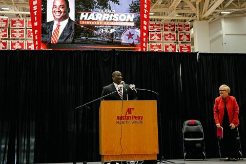 Austin Peay State University Athletics Director Gerald Harrison introduced today at the APSU Dunn Center. (APSU Sports)