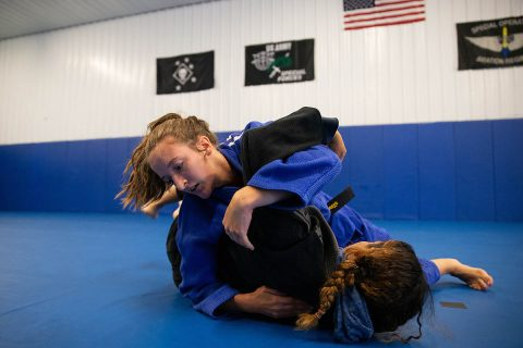 APSU Brinna Lavelle grapples with MiMi Bowen at Bowen Combative Arts Academy in Clarksville. Lavelle trains six days a week and travels on weekends for master-level coaching.