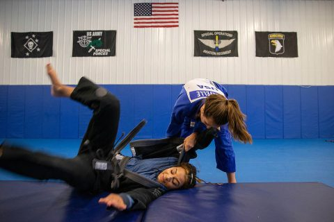 Brinna Lavelle throws Bowen at Bowen Combative Arts Academy in Clarksville. The judo portion of the FISU America Games are July 22nd-25th.