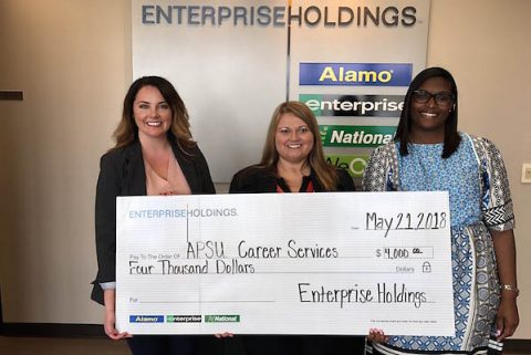 Bethany Beaty presents a $4,000 donation on behalf of the Enterprise Holdings Foundation to APSU Career Services. (Enterprise Holdings)