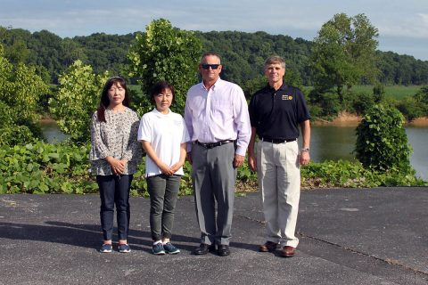 Hanna Kang, manager of Kitchen N Bath, Ann Kim, owner of Kitchen and Bath, Montgomery County Mayor Jim Durrett and Robert Huffman.