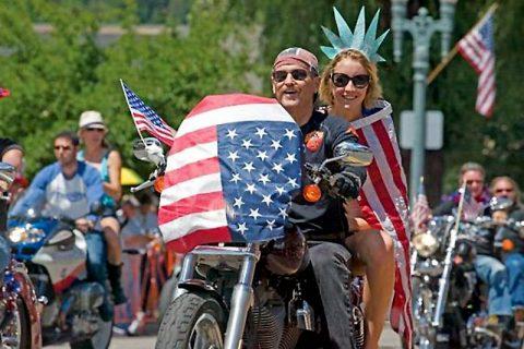 Biker celebrating Independence Day