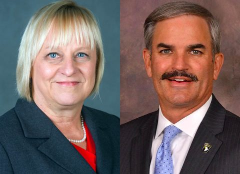 Clarksville's (L) Carol Clark and (R) Charlie Koon are on the Leadership Middle Tennessee Board of Directors.