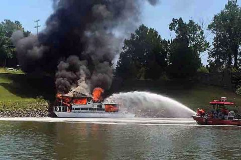 "Clarksville Fire and Rescue put out the fire on the houseboat named ""Dream Catcher""."