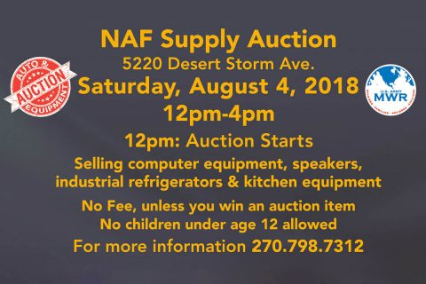 Fort Campbell MWR Equipment Open Bid Auction - August, 4th 2018