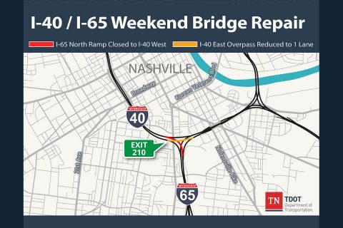 I-40 - I-65 Weekend Bridge Repair Map