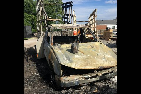 Burglars set fire to a 2007 Chevrolet Silverado at Wall Brothers Glass.
